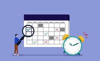 homem verificando o cronograma de trabalho com lupa. gerenciamento de tempo e conceito de lembrete de tarefa vetor
