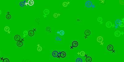 fundo vector azul, verde claro com símbolos de mulher.