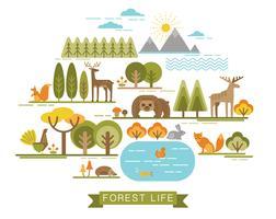 Ilustração do vetor da vida da floresta.