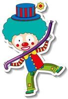 modelo de adesivo com personagem de desenho animado de palhaço feliz isolado vetor