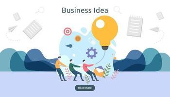 trabalho em equipe de negócios brainstorming ideia conceito com grande lâmpada amarela, personagem de pessoas minúsculas. solução de inovação criativa. modelo para página de destino da web, banner, apresentação, mídia social vetor