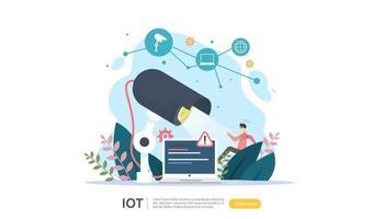 conceito de monitoramento de casa inteligente iot para tecnologia doméstica 4.0 industrial na tela do laptop da internet de objetos conectados de coisas. modelo de página de destino da web, banner, mídia impressa. ilustração vetorial vetor