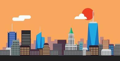 design plano da simplicidade do horizonte do highrise da cidade de Nova York vetor