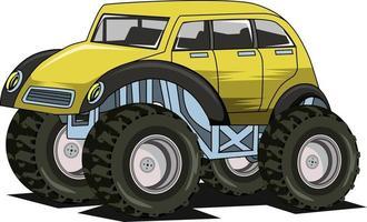 desenho de mão de monstro de carro clássico vetor