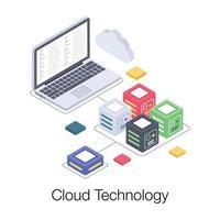 tecnologia de dados em nuvem vetor