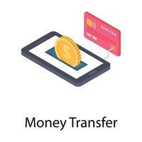 conceitos de transferência de dinheiro vetor