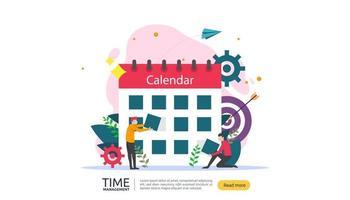 gerenciamento de tempo e conceito de procrastinação. planejamento e estratégia de soluções de negócios com relógio, calendário e personagens minúsculos para apresentações, mídias sociais e impressas. ilustração vetorial vetor