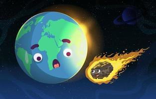 meteoro em chamas na terra vetor