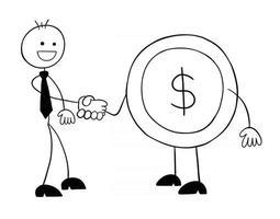 personagem de homem de negócios stickman apertando as mãos com ilustração de desenho vetorial de moeda de dólar vetor