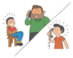 desenho animado feito refém e pedido de resgate por ilustração vetorial de telefone vetor