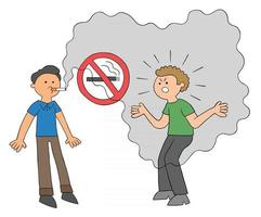 desenho animado homem fumando em um lugar onde é proibido fumar e o outro homem ficando com raiva. vetor