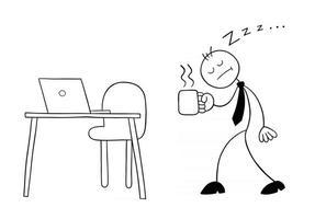 personagem de empresário stickman com muito sono caminhando para sua mesa com ilustração de desenho vetorial de café vetor