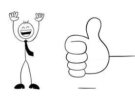 dando polegares para cima e personagem de empresário stickman ilustração de desenho vetorial muito feliz vetor