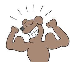 desenho animado o cão é muito forte e mostra ilustração vetorial de bíceps vetor