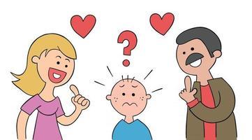a mãe e o pai dos desenhos animados perguntam ao filho de qual ele gosta mais e a criança fica muito confusa. vetor