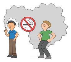 cartoon homem fuma em lugar proibido e o homem atrás está incomodado com a ilustração vetorial de fumaça de cigarro vetor