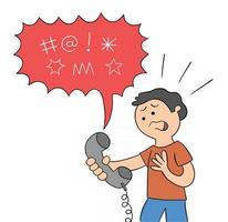 palavrões dos desenhos animados são ditos ao homem ao telefone xingando ilustração vetorial vetor
