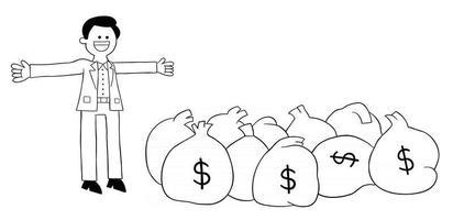 cartoon jovem é muito rico e tem muitos dólares de ilustração vetorial vetor