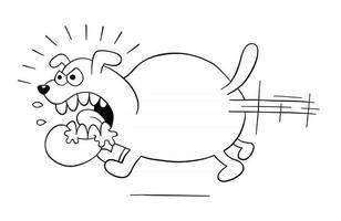 desenho animado com raiva e cachorro grande correndo ilustração vetorial vetor