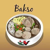 ilustração de almôndegas de comida tradicional indonésia vetor