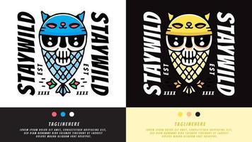 caveira, gato e peixe em estilo exagero. ilustração para camisetas, cartaz, logotipo, adesivo ou mercadoria de vestuário. vetor