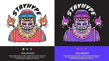 hype barbudo homem com chapéu beanie e osso pegando fogo. ilustração para camisetas, cartaz, logotipo, adesivo ou mercadoria de vestuário. vetor