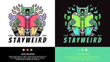 gato alienígena lendo livro no estilo hype. ilustração para camisetas, cartaz, logotipo, adesivo ou mercadoria de vestuário. vetor