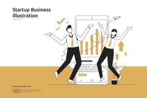 oportunidade de inicialização, risco de investimento, consultor financeiro, lançamento de negócios, franquia, conceito de mentoria. metáfora do sucesso e do crescimento financeiro design plano página de destino da web ou site para celular vetor