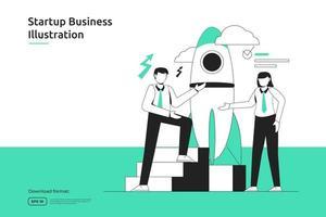 oportunidade de inicialização, risco de investimento, consultor financeiro, lançamento de negócios, franquia, conceito de mentoria. metáfora do sucesso design plano página de destino da web ou site para celular vetor