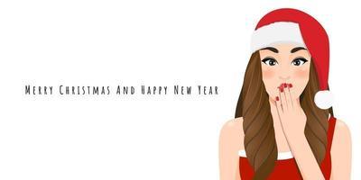 menina de natal animada com vestido vermelho e chapéu de papai noel de Natal com personagem de desenho animado de feliz ano novo e festival de natal feliz na ilustração vetorial de fundo branco vetor
