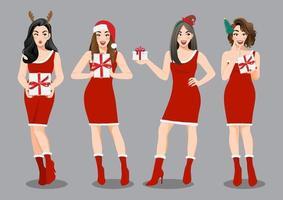 Natal girl group com vestido vermelho segurando o personagem de desenho animado de caixas de presentes. vetor de conceito de venda feliz natal e feliz ano novo