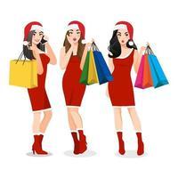 Natal girl group com vestido vermelho segurando sacolas de compras personagem de desenho animado. vetor de conceito de venda feliz natal e feliz ano novo