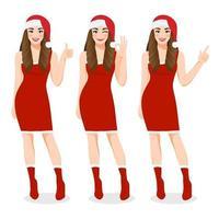 menina de natal com vestido vermelho e chapéu de papai noel natal com personagem de desenho animado de feliz ano novo e festival de natal na ilustração vetorial de fundo branco vetor