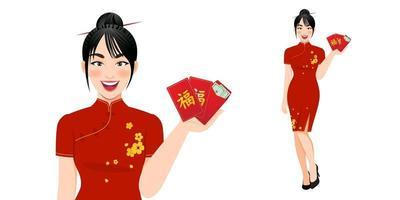 mulher chinesa em roupas tradicionais, segurando os envelopes vermelhos. vetor de conceito de feliz ano novo chinês