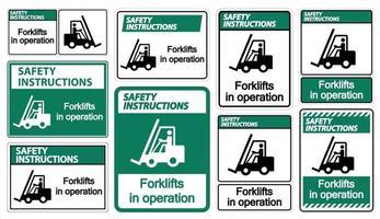 empilhadeiras de instruções de segurança em sinal de símbolo de operação isolar em fundo transparente, ilustração vetorial vetor