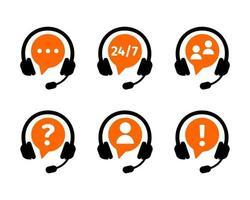 os clientes suportam o conjunto de ícones de serviço online. símbolos de call center com fones de ouvido isolados no fundo branco. conceito de tecnologia de comunicação do cliente vetor