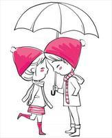 amor na chuva vetor