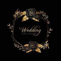 fundo de aniversário de casamento com moldura floral dourada vetor