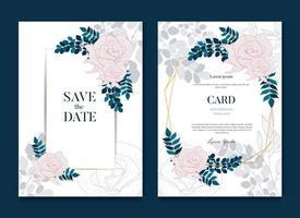 cartão e convite simples e elegante com molduras de casamento rosa vetor
