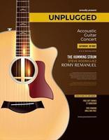 pôster de show de violão acústico unplugged vetor