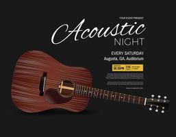 cartaz de evento de performance ao vivo de noite acústica vetor