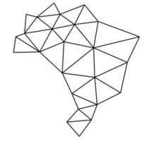 mapa-múndi vetor poligonal em fundo branco.