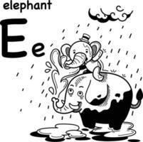 ilustração de e-elefante desenhado à mão. vetor