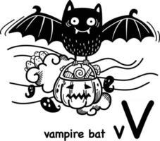 ilustração de morcego v-vampiro desenhada à mão. vetor