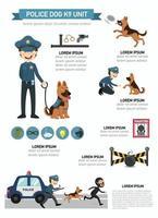 cão policial k9 unidade infográfico, ilustração vetorial. vetor