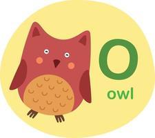 ilustração isolada letra do alfabeto o - ilustração em vetor owl