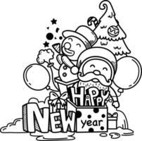 mão desenhada papai noel feliz ano novo e feliz natal. vetor de ilustração