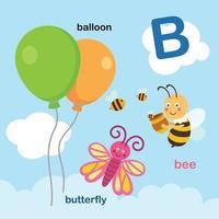 ilustração isolada letra do alfabeto b-balloon, abelha, borboleta. vetor