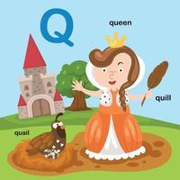ilustração isolada da letra do alfabeto q-codorna, rainha, pena. vetor