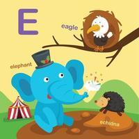 ilustração isolada da letra do alfabeto e-águia, equidna, elefante. vetor